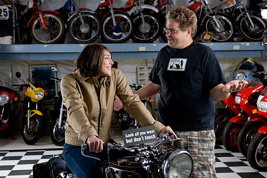 Corrazo lifestyle shoot at a motorcycle museum