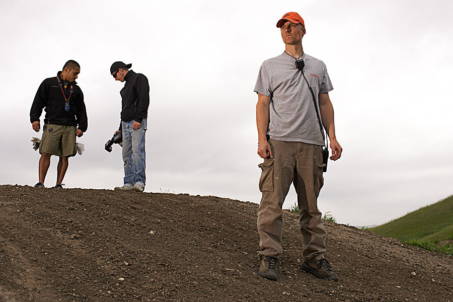 Prepping the track on a Yamaha motocross shoot