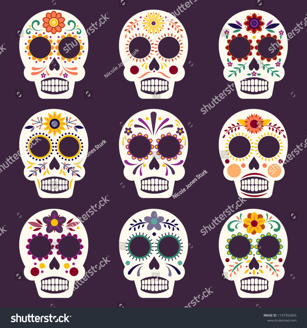 stock-vector-set-of-nine-colorful-and-decorative-mexican-sugar-skulls-for-day-of-the-dead-1147392845.jpg