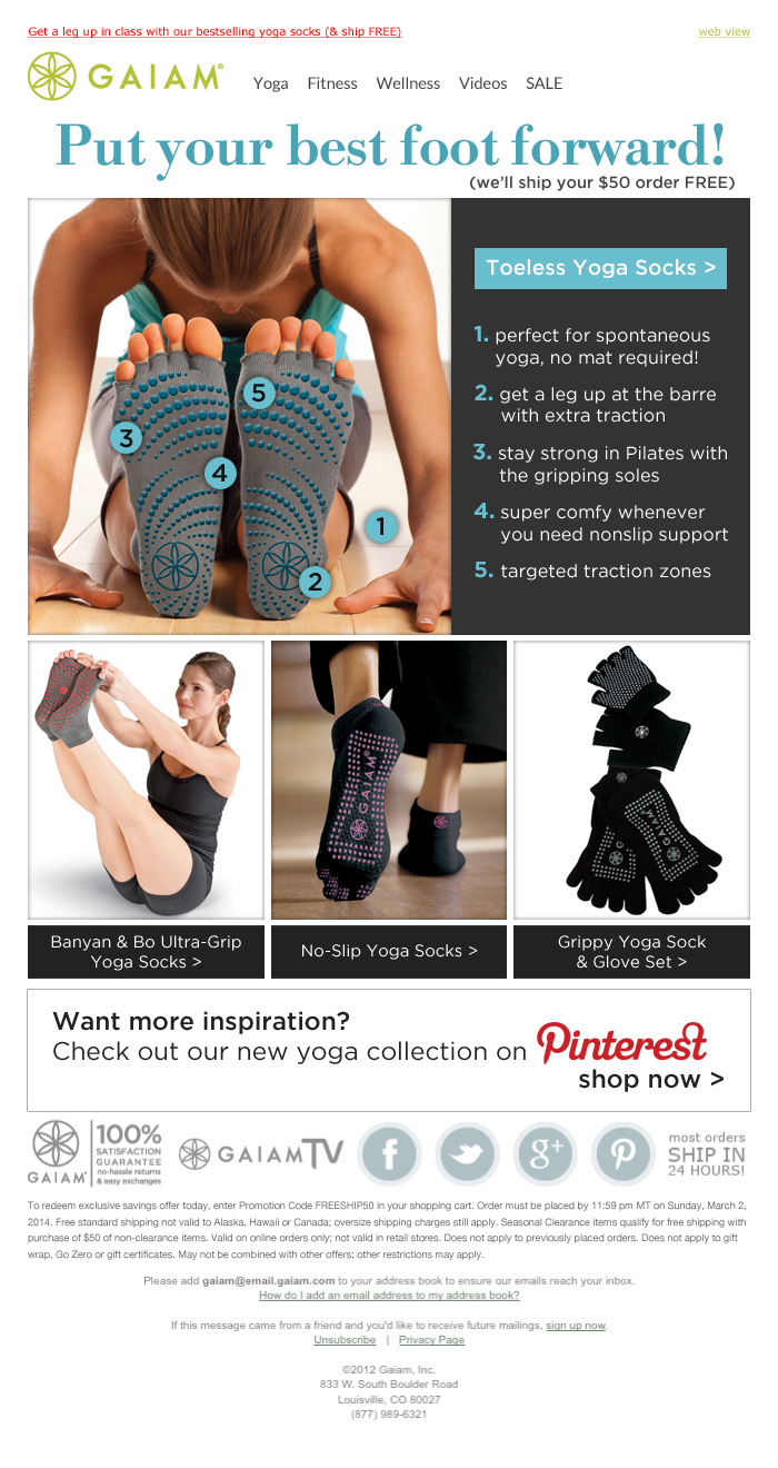 Toeless Yoga Socks Email