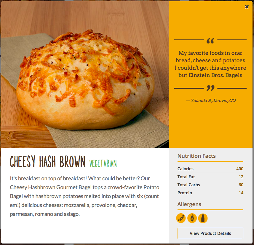 Einstein Bros. Cheesy Hash Brown Bagel