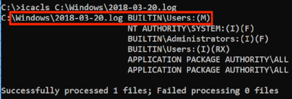 Log file modify permissions