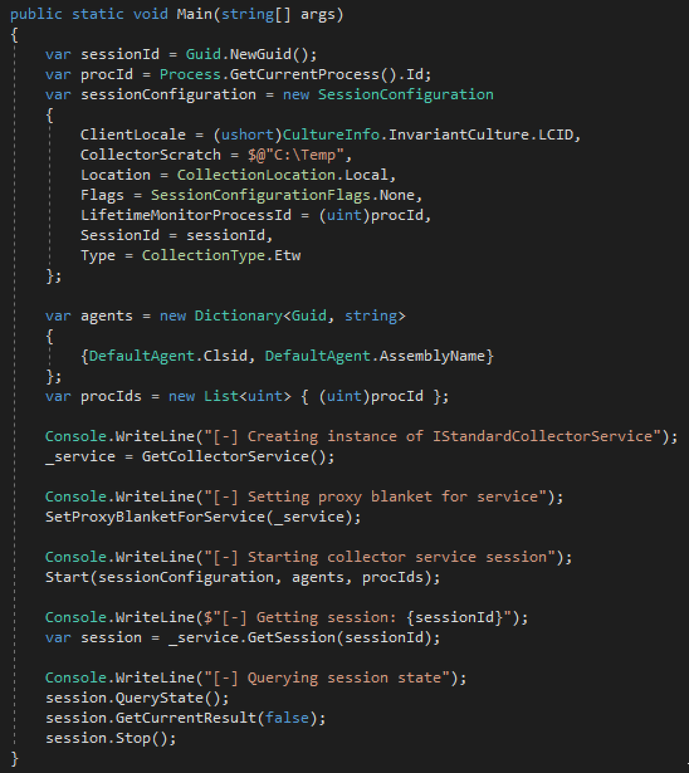 Code snippet of client used to interact with Collector service