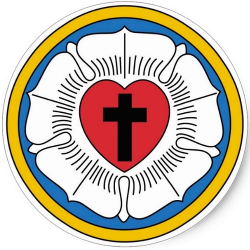 The Lutheran Seal Summarizes Our Faith. It has 5 elements. I - Black Cross represents the price of sin. Christ died on the cross to overcome sin and death II - The Red Heart represents God's love  for mankind. He loved so greatly that he sent His Son, Jesus III - The White Rose represents being made pure in the blood of Christ in order to grow  by Grace IV - The Blue Sky/Water represents the heavens and Baptism, where we were reborn into eternal Life V - The Golden Ring represents God's perfect  promise of Eternal Life, filled with Beauty and Joy