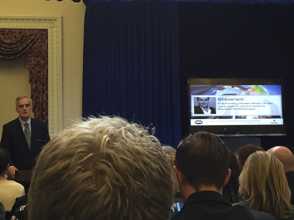 President Obama's Chief of Staff, Denis McDonough presenting in front of a Hashtagart Mosaic
