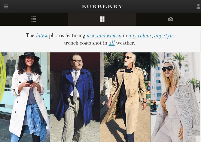 Burberry's 'The Art of The Trench' UGC Website