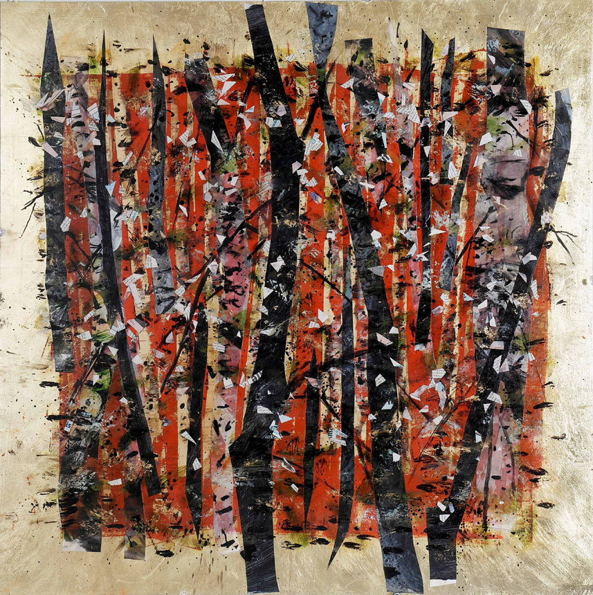 Fire Forest, Mixed media and collage on sintra, 24 inches x 24 inches (60.96 x 60.96 cm)