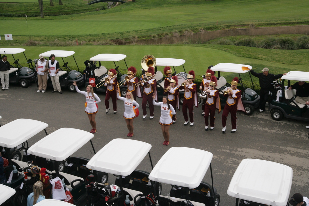 USC Golf Carts, Cheerleaders, Band.JPG