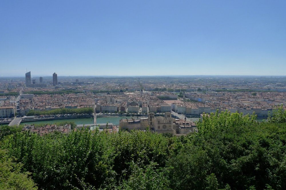 The views from the top of the hill overlook the city and on a clear day, all the way to the Alps.