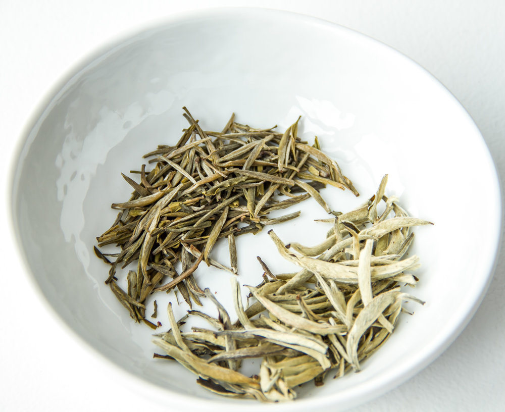Yin Zhen yellow tea (top/left) and Yin Zhen white tea (bottom/right)