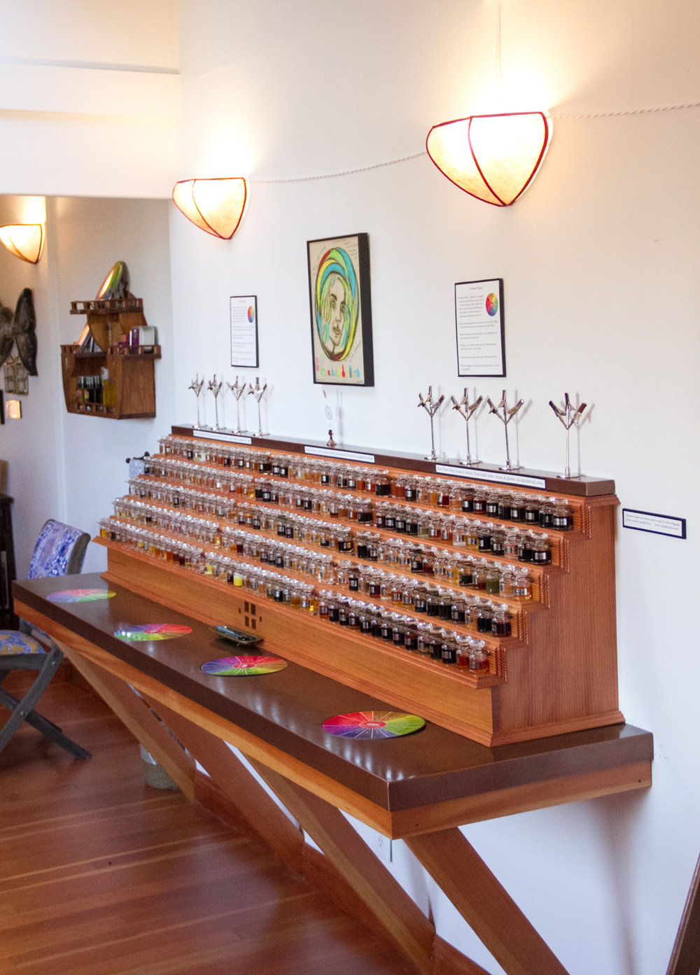 The perfume organ at the  Aftel Archive of Curious Scents