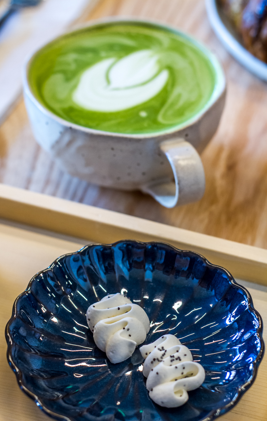 Matcha latte and citrus poppy seed meringue at Stonemill Matcha Cafe in San Francisco