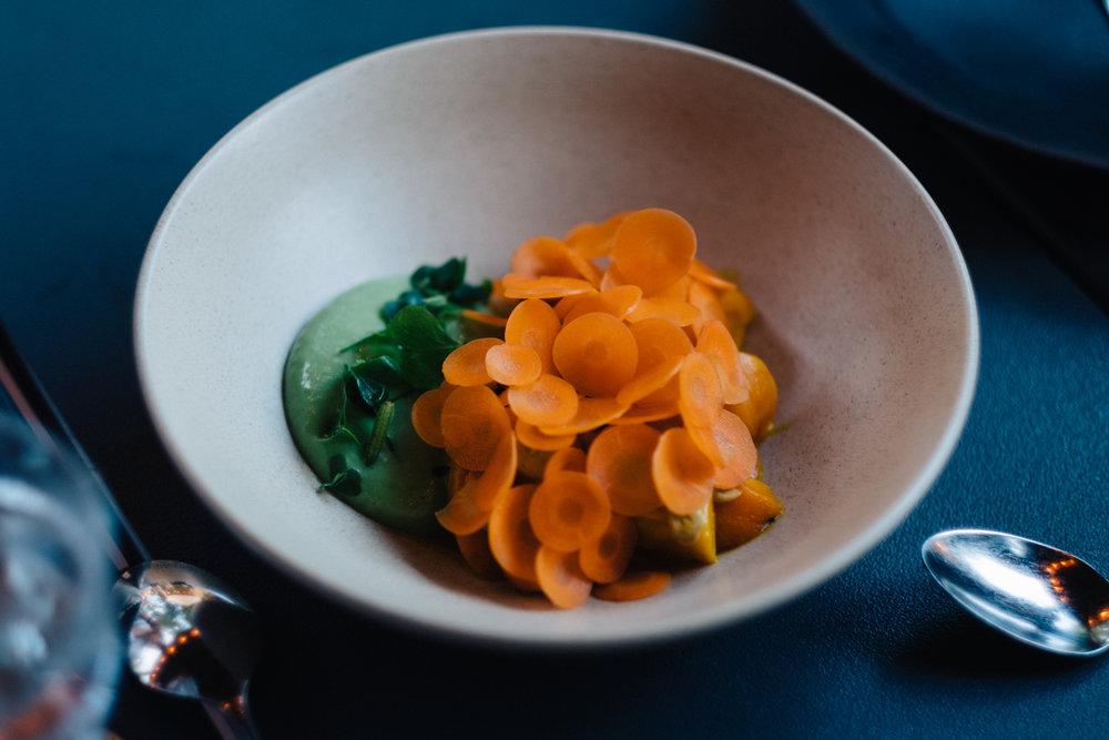 Carrots, hazelnut, vadouvan, sorrel