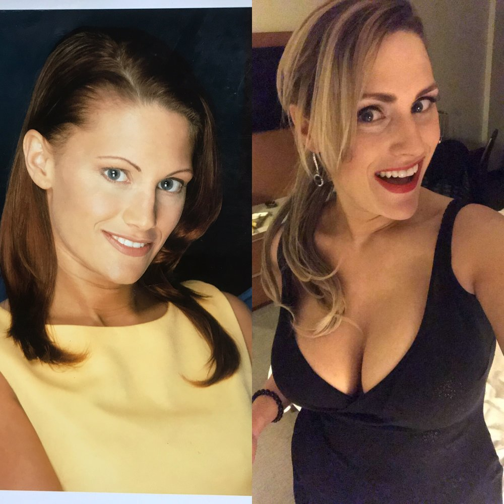 "Photo from 1998 next to twenty years later unedited ""selfie""posted on Lorraine's Instagram account handle  @pinupmakeover"
