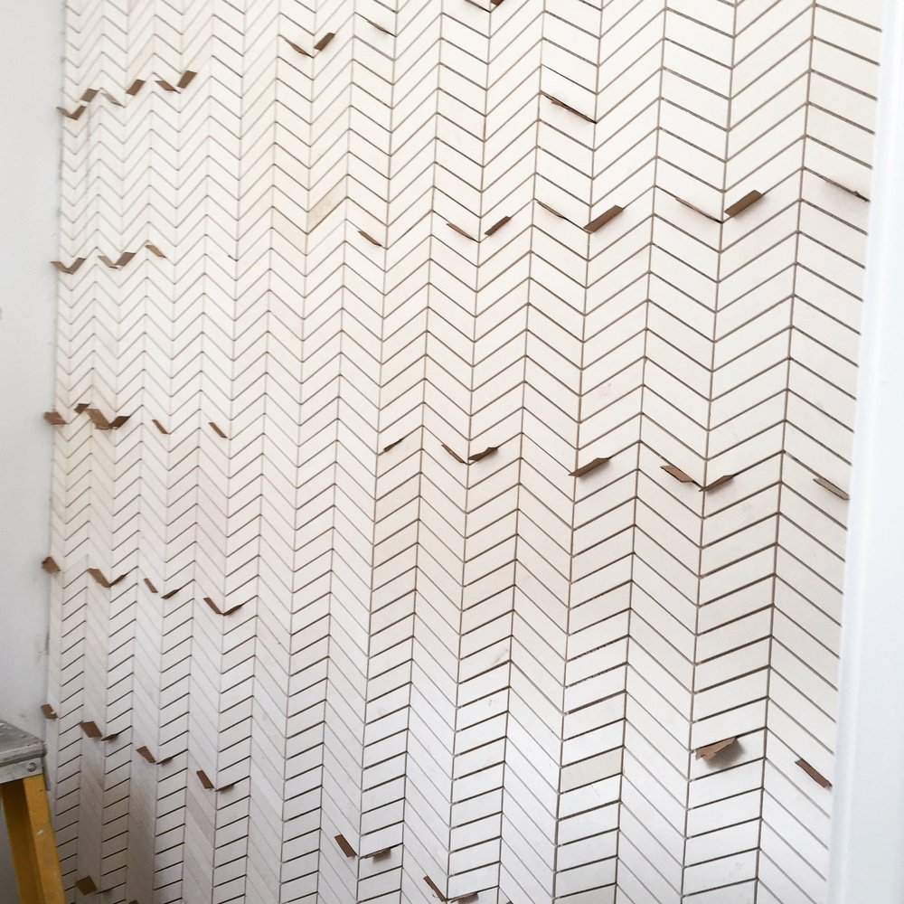 Powder room tile wall