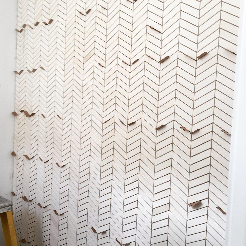 Powder room tile wall