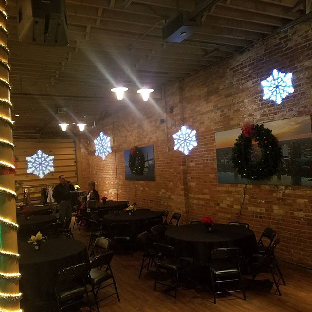 A little snow flake projection for tonight's corporate Christmas party at The Blarney Event Center!