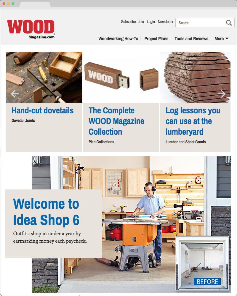 New homepage visual design for Wood Magazine.