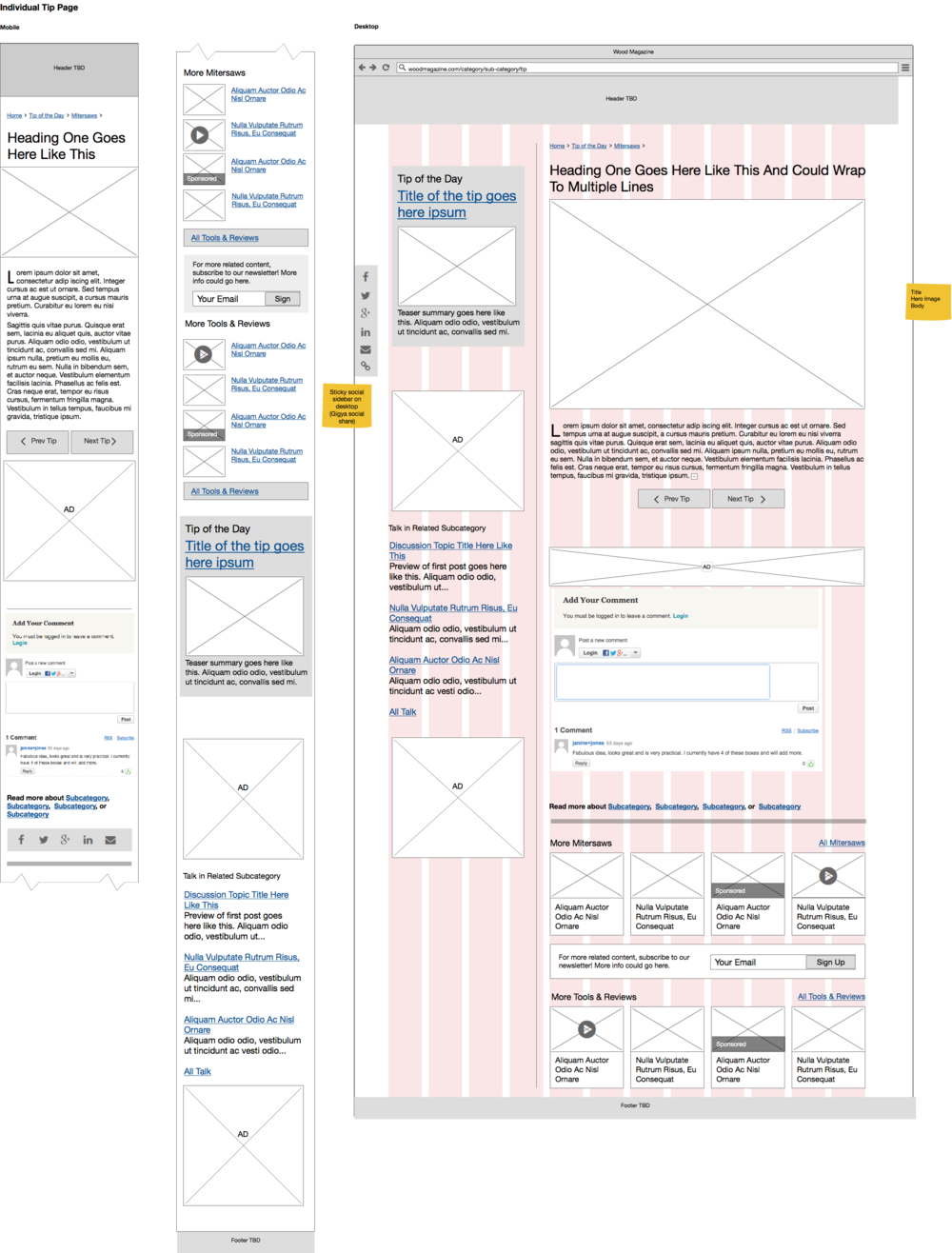 Interaction design: Wireframe depicting Tip content type with annotations.