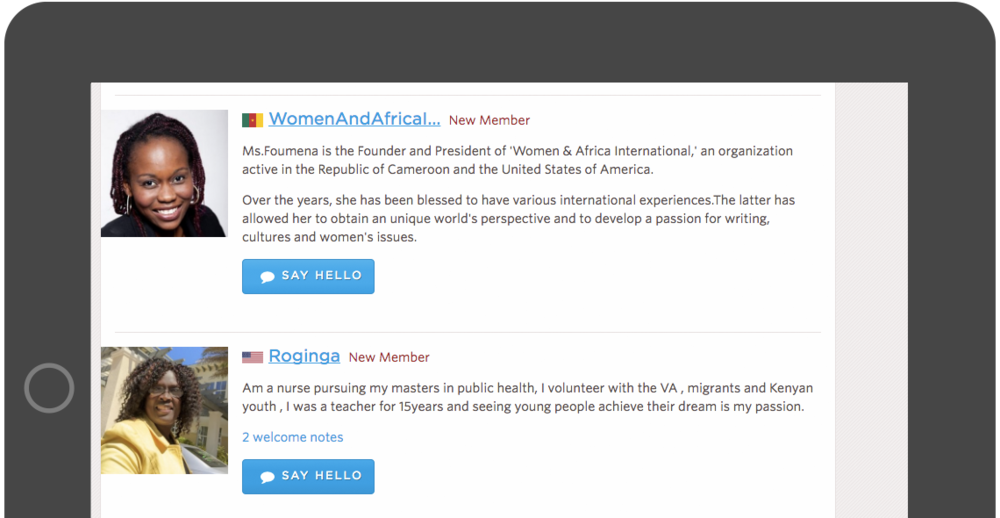 A unique feature with the Word Pulse community was the personalized experience from the World Pulse welcomers. Particular users were assigned to Say Hello to new members and this view presents a new tag, New Member, along with the prominent Call to Action, Say Hello, to un-greeted members.