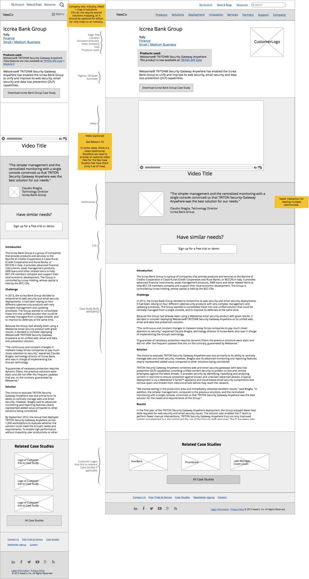 Above: Product page Interaction design process includes mobile-first design, followed by views for wider breakpoints. Below: The visual translation of the wireframe with the finished brand attributes.