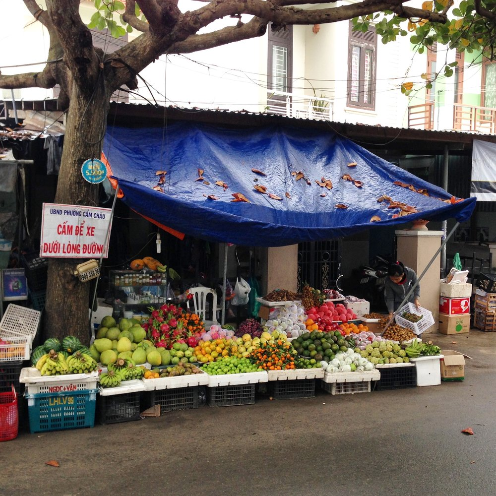 Fresh fruit is abundant in Vietnam. Generally the people eat very well, with little processed and packaged food in their diet. Sugar is added to many dishes, but cake and desserts are rarely eaten, so things balance out that way.