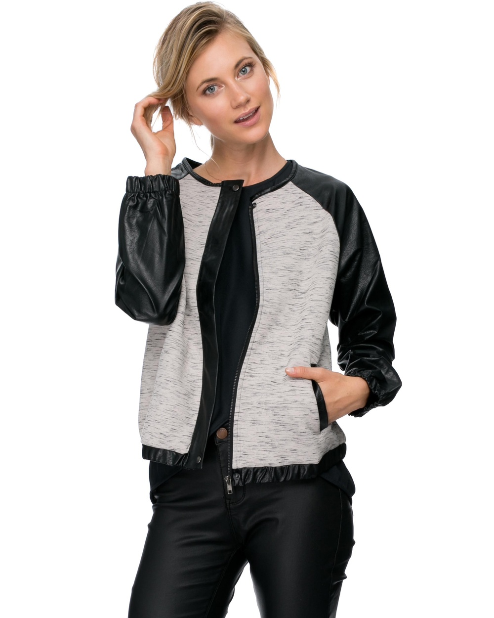 Zalora faux leather sleeve $74.95