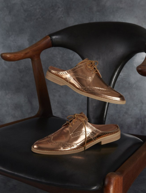Jagger caspule rose gold brogues $249