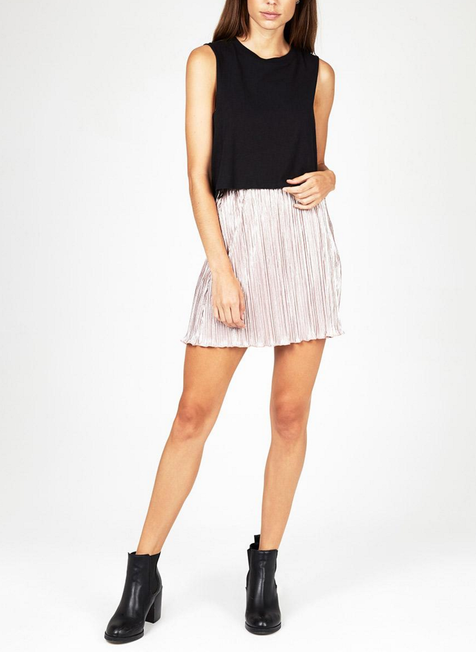 Neon Hart metallic rose micro pleat skirt $59.95