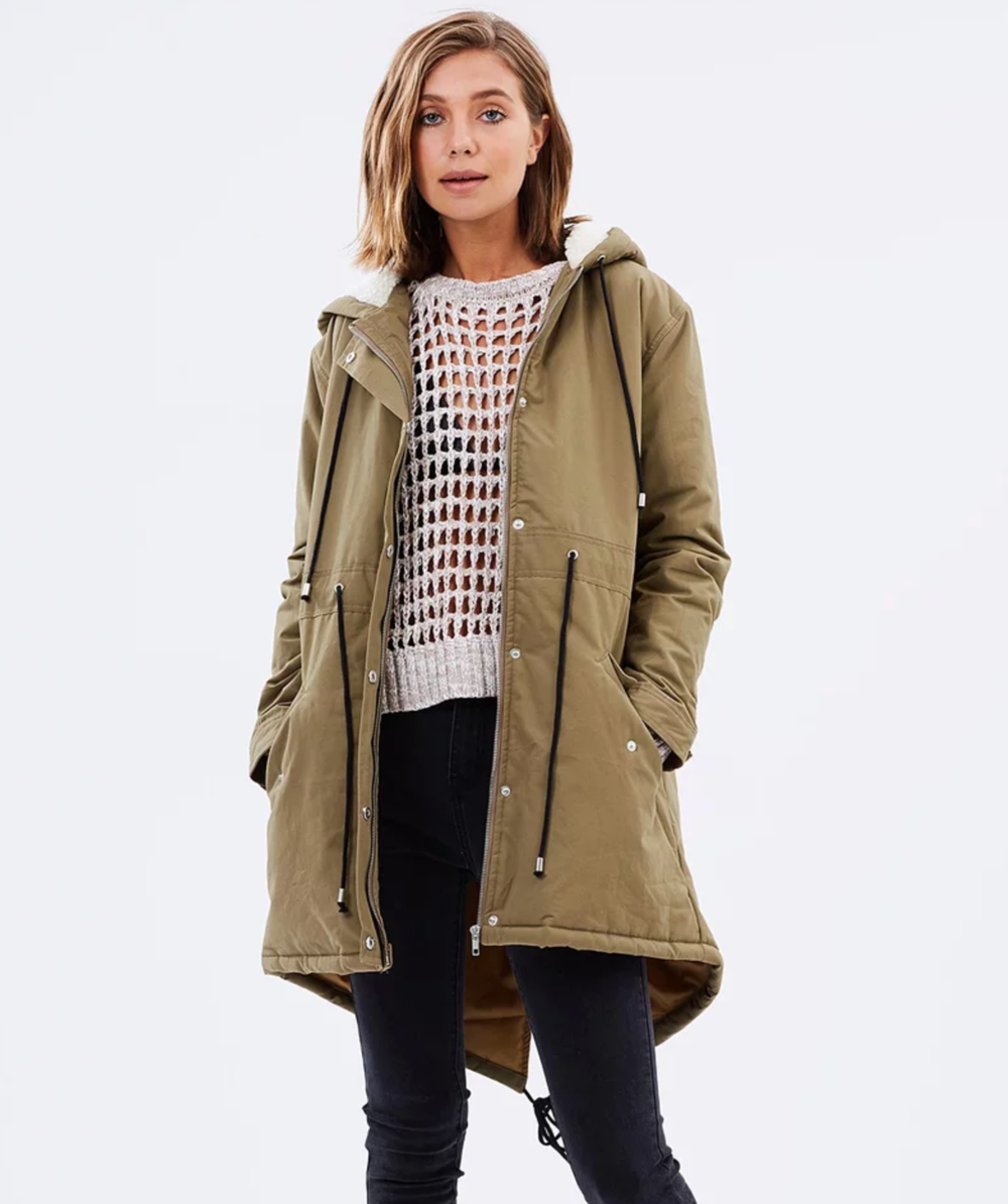 Mink Pink neighbourhood watch parka