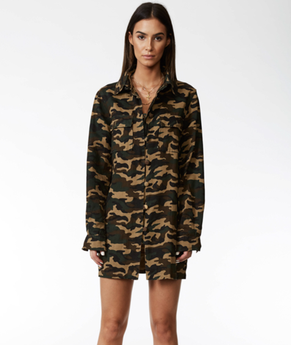 Lioness regulate army shirt dress $109