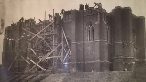 Blessed Sacrament Church under construction circa 1910