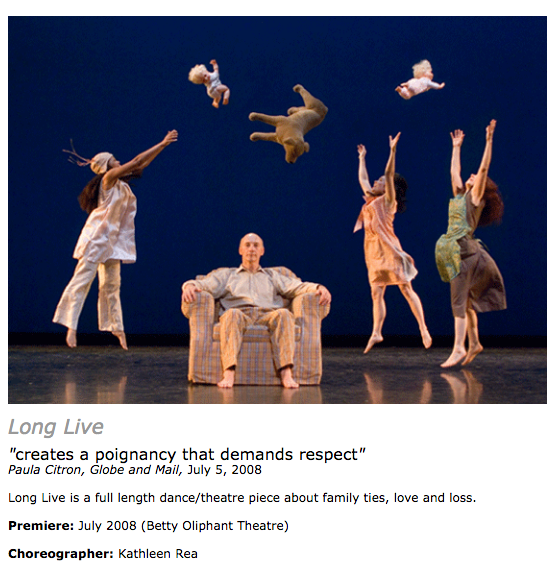 Long Live 2008 contemporary dance by Kathleen Rea - original score by Daniela Gesundheit with DMG  - nominated for a Dora Award for best original music -