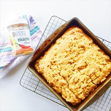 Harissa Cornbread with Chosen Foods Harissa Mayo