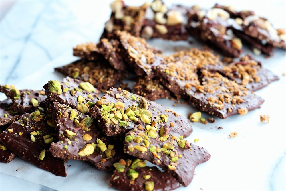 puffed quinoa chocolate almond bark pistachio