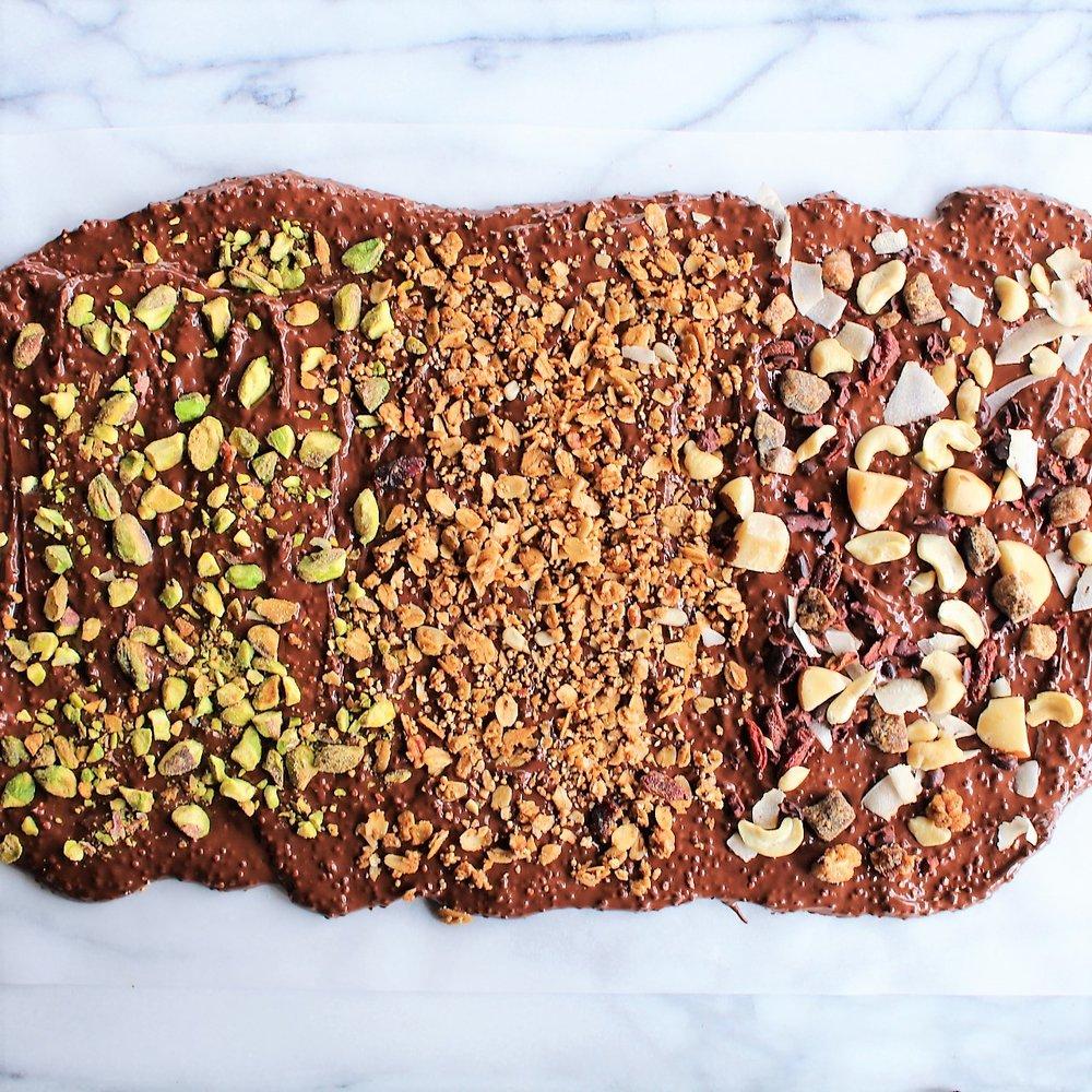 Puffed Quinoa Chocolate Almond Bark