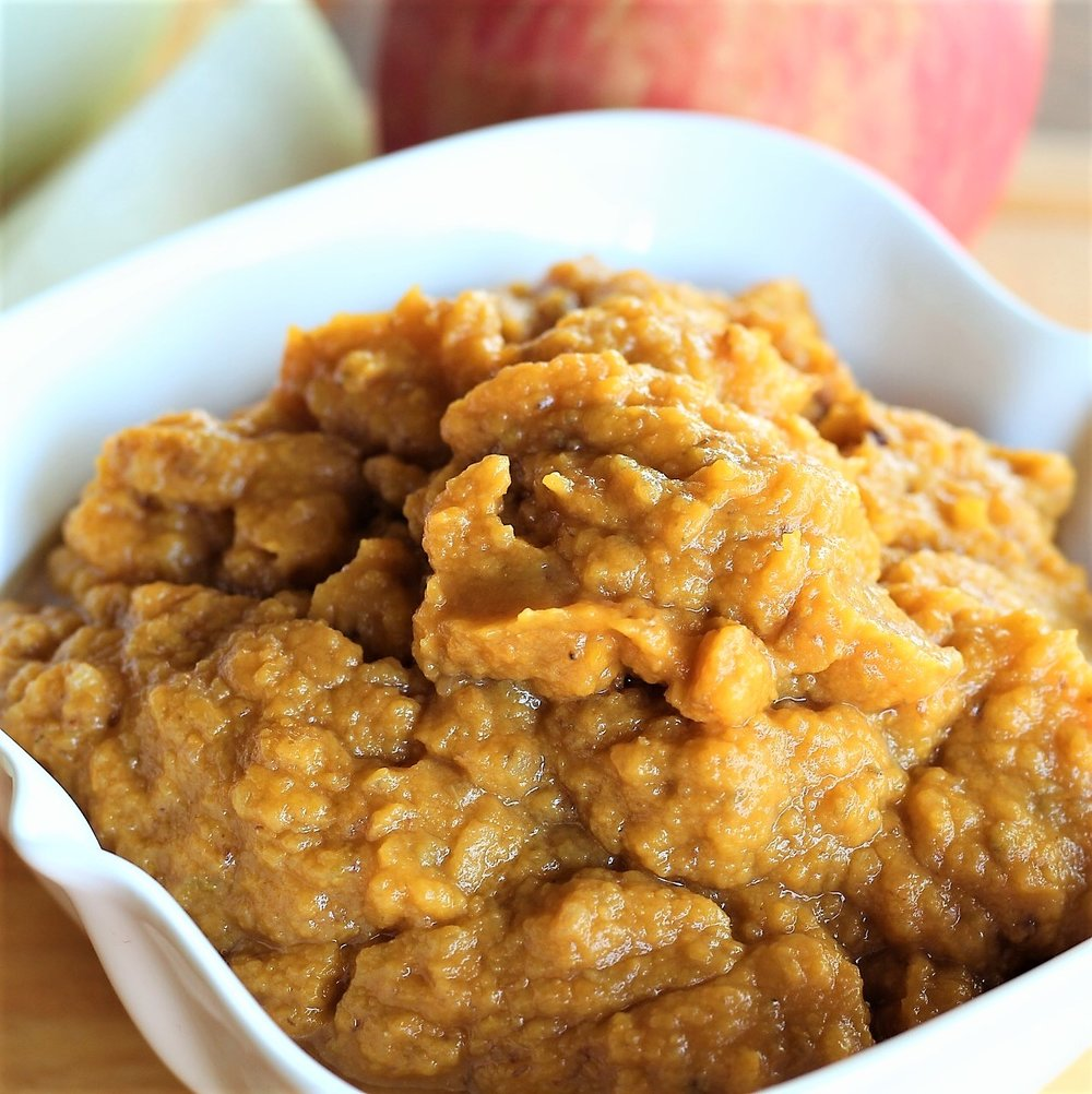 Slow Cooker Apple Rotisserie Chicken with sweet potato applesauce