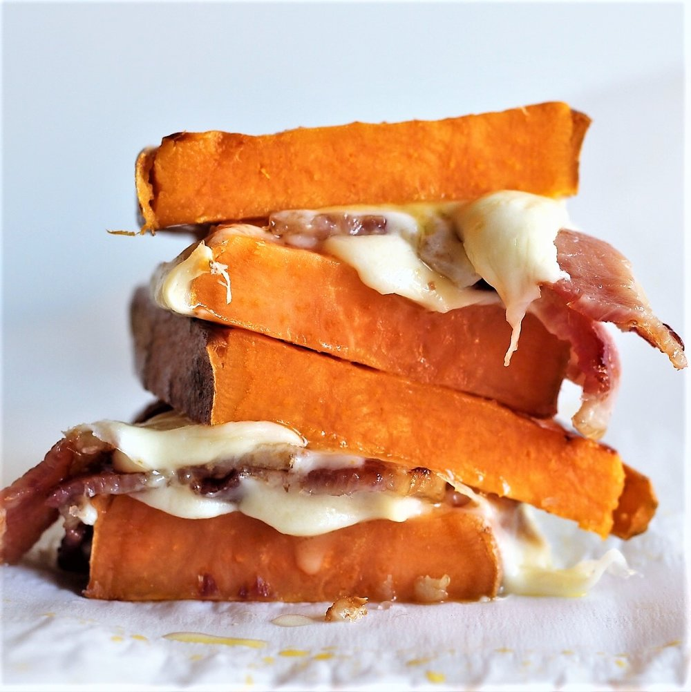 bacon grilled cheese on sweet potato toast