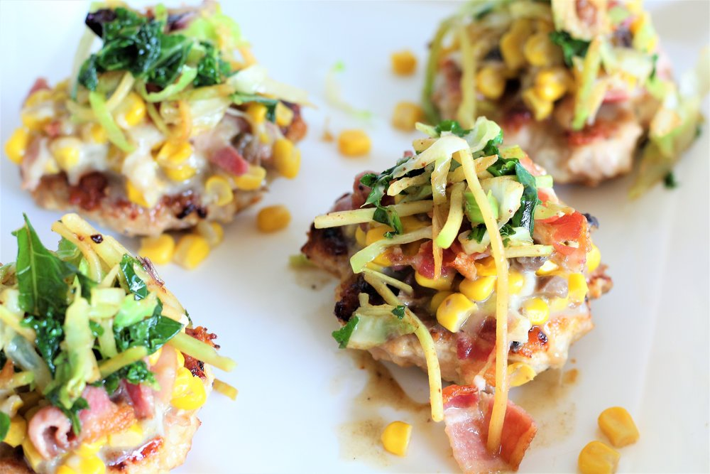 turkey burgers with cheesy bacon corn relish