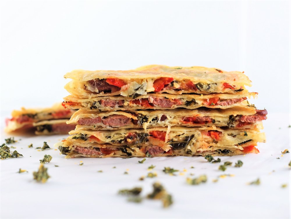 Red Pepper, Kale, Sausage Quesadillas