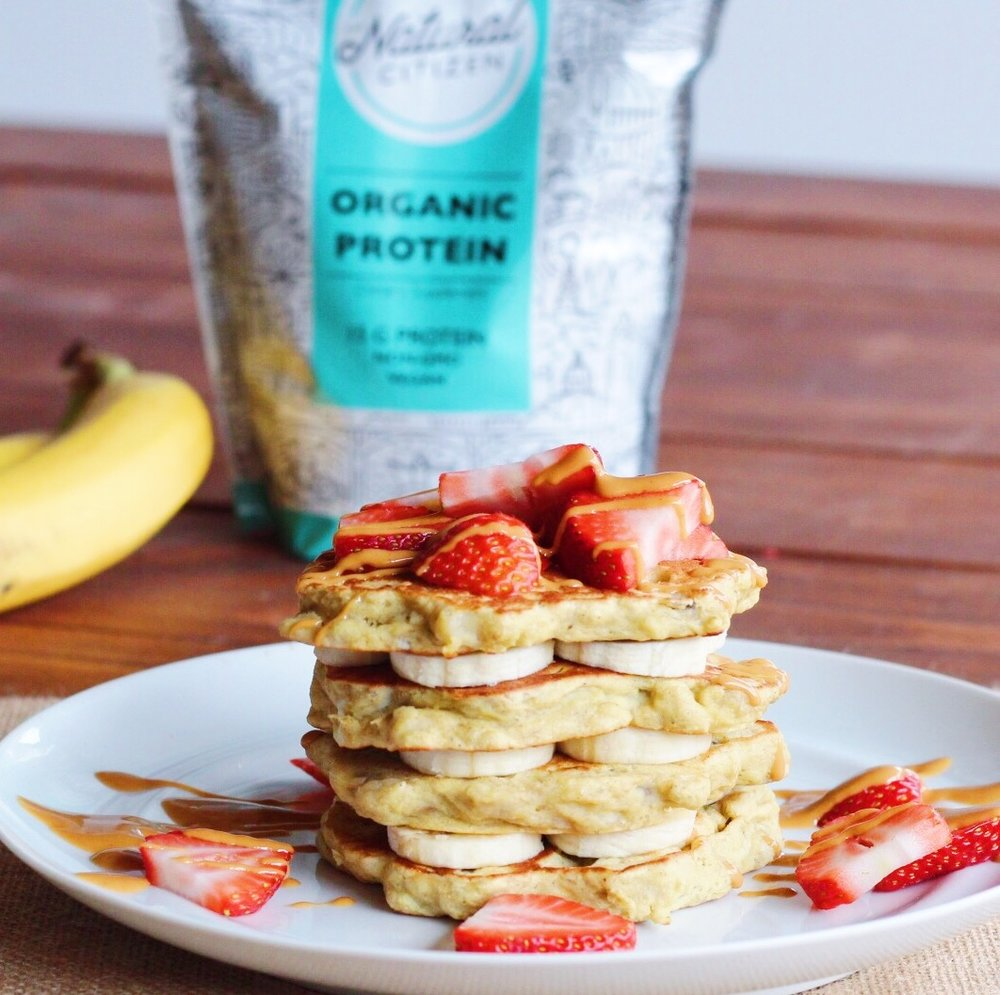 high protein easy banana pancakes