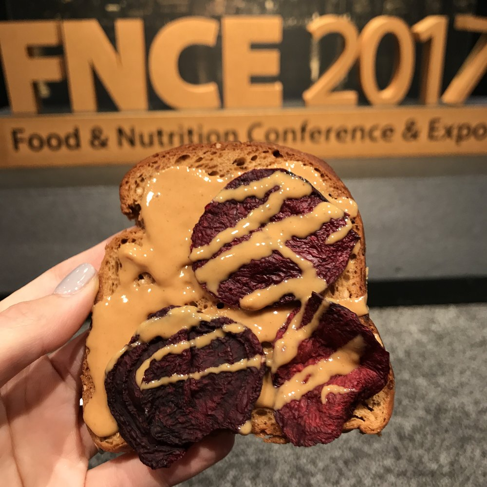 The last day of FNCE was a Tuesday... so naturally, I felt the need to celebrate #toasttuesday using my favorite Expo samples: Rhythm Superfoods Beet Chips, Crazy Richard's Peanut Butter, and Schar Gluten Free Bread.