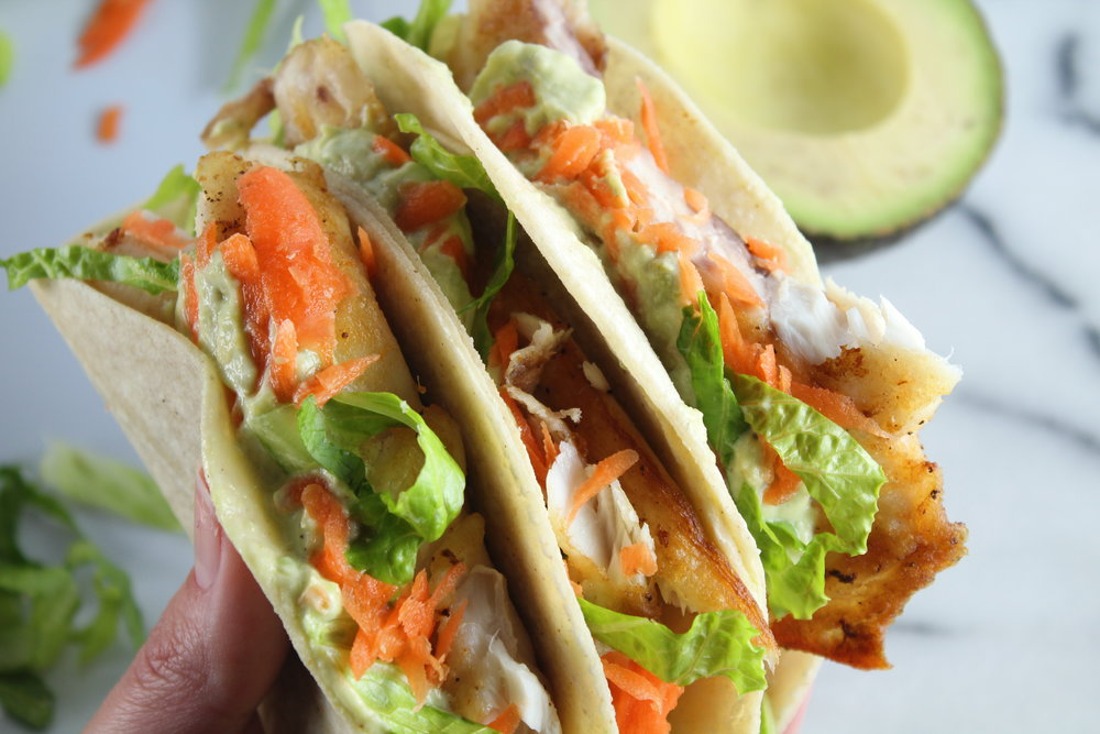 30-minute Fish Tacos with Lemon Avocado Cream Sauce