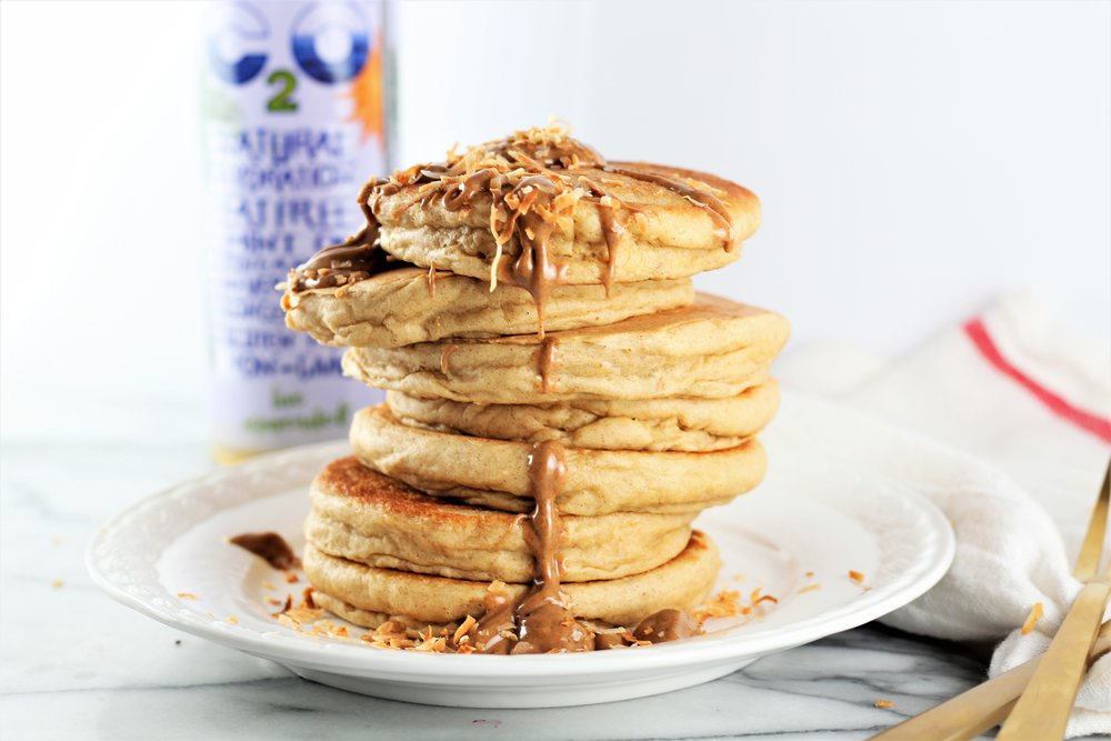 Pina Colada Almond Butter Pancakes