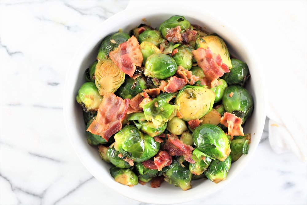 Maple Black Pepper and Bacon Brussel Sprouts