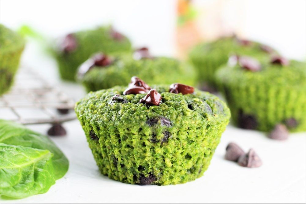 Green Oatmeal Chocolate Chip Muffins