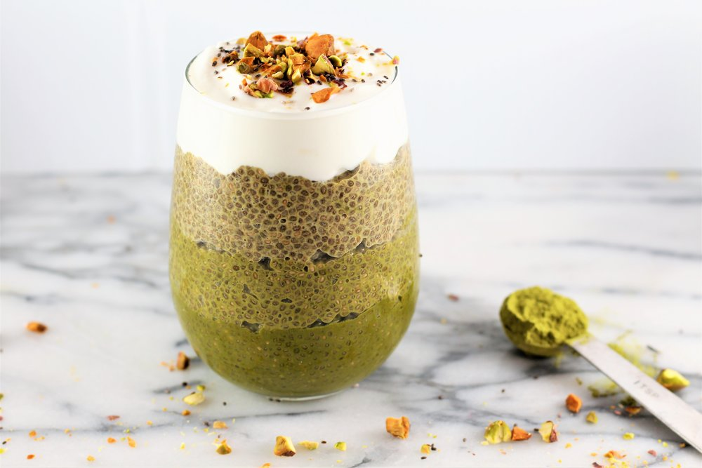 Green Matcha Ombre Chia Pudding