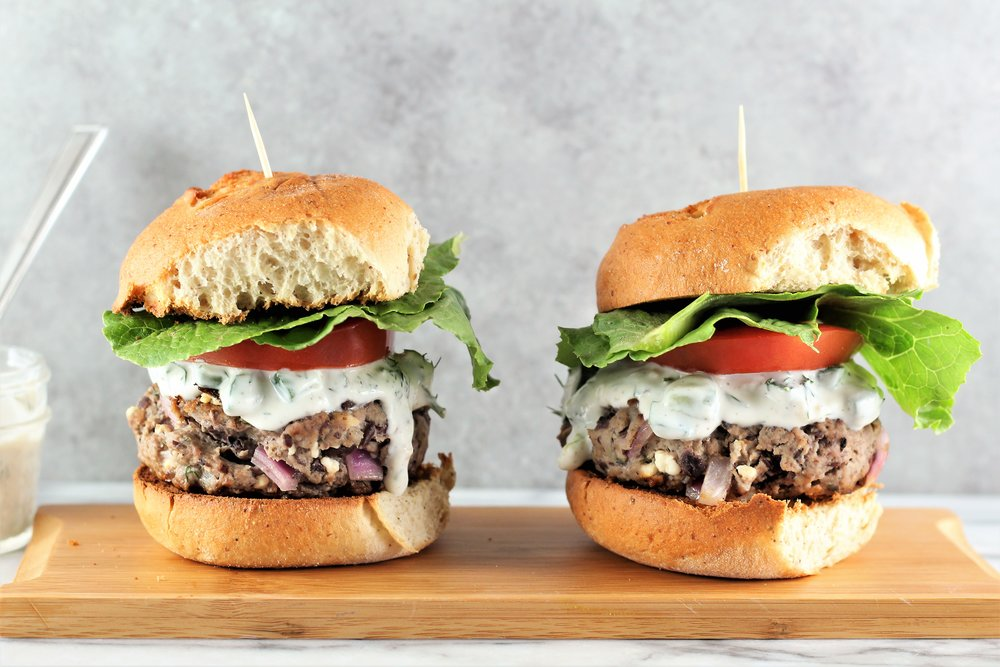 Lamb, Feta, and Black Bean Burgers with Greek Yogurt Tzatziki Sauce