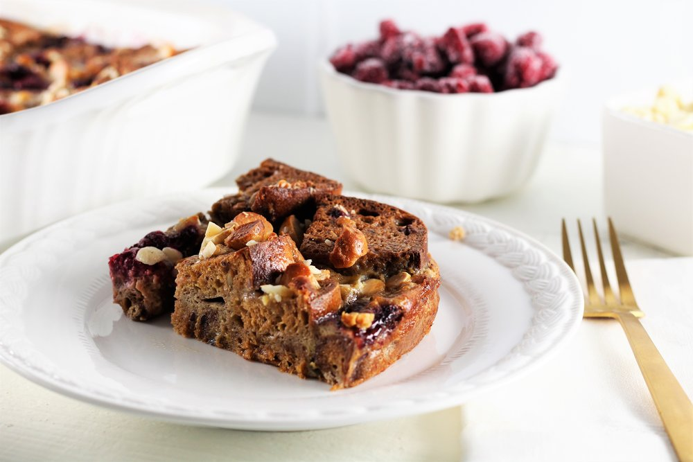 Raspberry Macadamia Nut Overnight French Toast Casserole for Mother's Day
